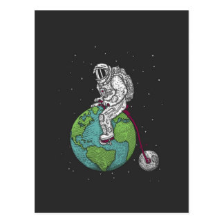 Spaceman On An Earth Bike Postcard