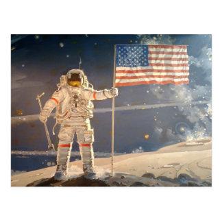 Spaceman Plants Flag on the Moon Art Postcard