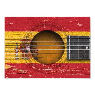 Spanish Flag on Old Acoustic Guitar 13 Cm X 18 Cm Invitation Card