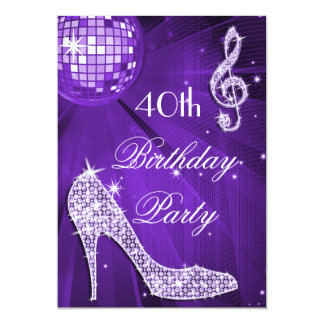 Sparkle Heels Purple Disco Ball 40th Birthday 13 Cm X 18 Cm Invitation Card