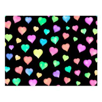 Sparkle Rainbow Hearts Pattern - Black Background Postcard