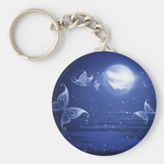 Sparkling Butterflies Luna moths fly by moon light Basic Round Button Key Ring