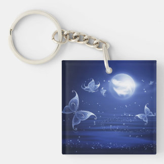 Sparkling Butterflies Luna moths fly by moon light Double-Sided Square Acrylic Key Ring