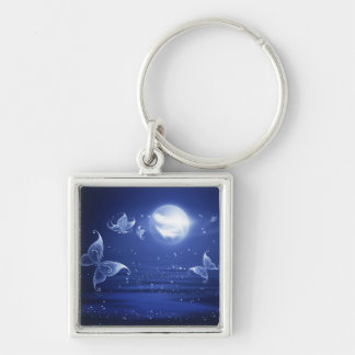 Sparkling Butterflies Luna moths fly by moon light Silver-Colored Square Key Ring