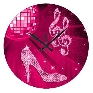 Sparkly Hot Pink Music Note & Stiletto Heel Wallclock