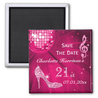 Sparkly Stiletto Heel 21st Birthday Save The Date Square Magnet