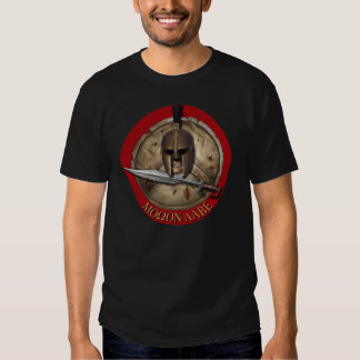 Spartan Helm Molon Labe Red backg Shirt