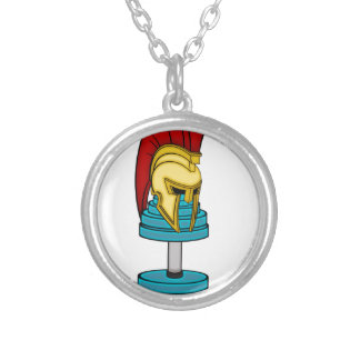 Spartan's helmet on dumbbell round pendant necklace