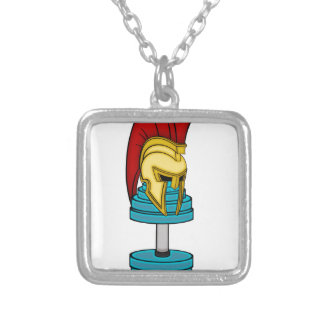 Spartan's helmet on dumbbell square pendant necklace