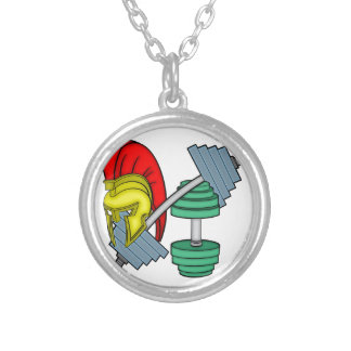 Spartan's helmet on gym equipment round pendant necklace