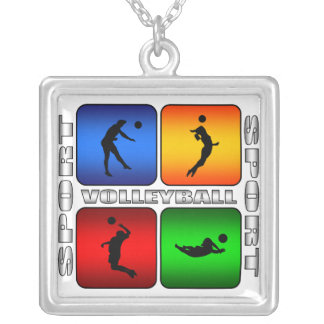 Spectacular Volleyball Square Pendant Necklace