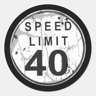 Speed Limit 40 MPH Grungy Sticker