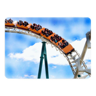 Speeding Orange Roller Coaster 13 Cm X 18 Cm Invitation Card