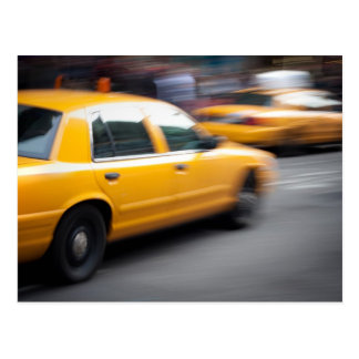 Speeding Yellow NY City Taxi Cab with Motion Blur Postcard