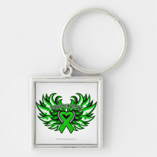 Spinal Cord Injury Awareness Heart Wings.png Silver-Colored Square Key Ring