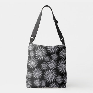 Spinning stars energetic pattern black bag tote bag