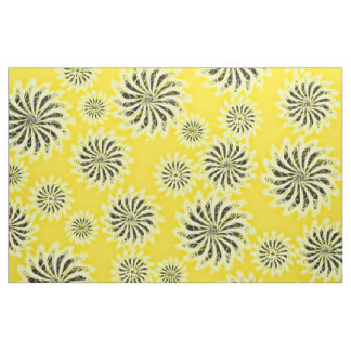 Spinning stars energetic pattern yellow fabric
