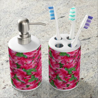Splash of Bright Pink Hibiscus Blossoms Toothbrush Holders