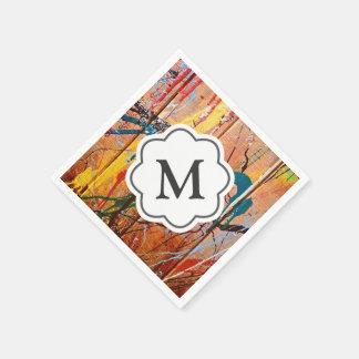 Splashed Paint Artistic Monogram Napkins Paper Serviettes