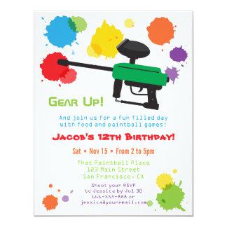 Splat Paintball Kids Birthday Party Invitations
