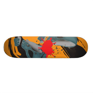 Split skull 21.6 cm old school skateboard deck