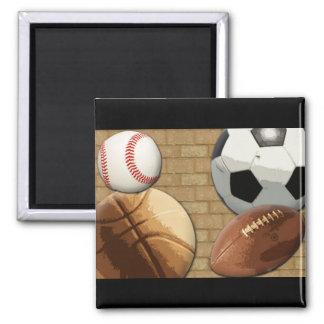 Sports Al-Star, Basketball/Soccer/Football Square Magnet