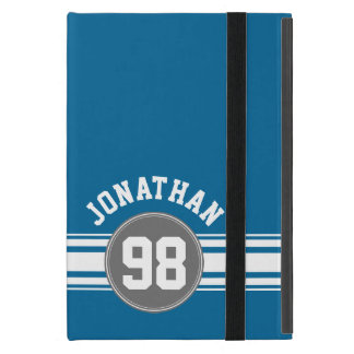 Sports Jersey Blue and Gray Stripes Name Number Covers For iPad Mini