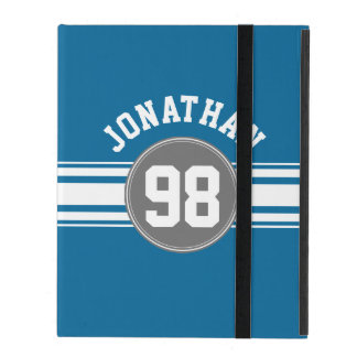 Sports Jersey Blue and Gray Stripes Name Number iPad Case