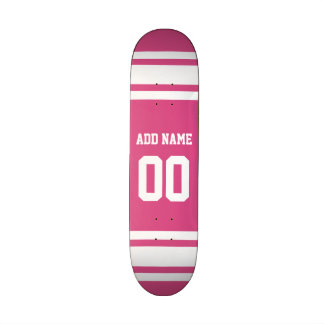 Sports Jersey with Name and Number - Pink White 21.6 Cm Skateboard Deck
