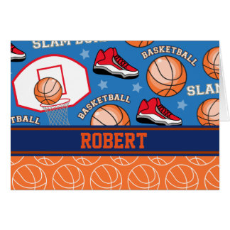 SPORTS Personalize Name Basketball Fan Fun Pattern Greeting Card