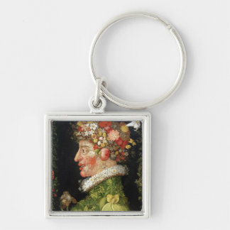 Spring, a series depicting the four seasons Silver-Colored square key ring
