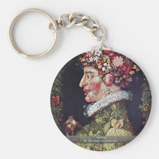 Spring By Giuseppe Arcimboldo Basic Round Button Key Ring