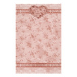 spring romance pink floral and lace heart personalized stationery