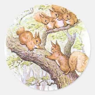 Squirrel Meeting Round Sticker