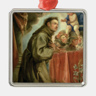 St. Anthony of Padua  adoring the Christ Child Silver-Colored Square Decoration