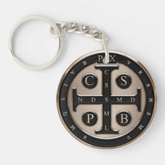 St. Benedict Medal Single-Sided Round Acrylic Key Ring