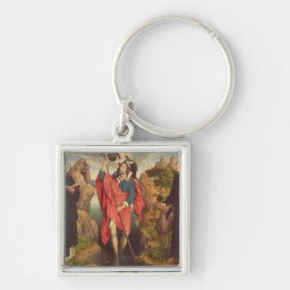 St. Christopher , 1484 Silver-Colored Square Key Ring