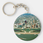 St. Louis Arch and Skyline Basic Round Button Key Ring