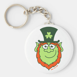 St Paddy's Day Leprechaun Smiling Basic Round Button Key Ring