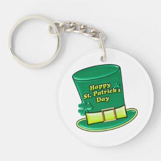 St. Patrick's Day Leprechaun Hat Double-Sided Round Acrylic Key Ring