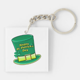 St. Patrick's Day Leprechaun Hat Double-Sided Square Acrylic Key Ring