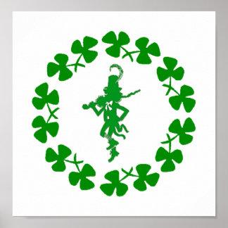 St. Patrick's Day Leprechaun Shamrock Ring  Poster