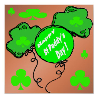 St Patrick's Day Balloons Poster