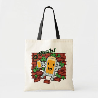 St Patrick's Day Funny Beer Man Budget Tote Bag