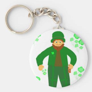 St.Patrick's Day, Green Leprechaun Basic Round Button Key Ring