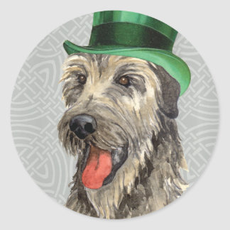 St. Patrick's Day Irish Wolfhound Round Sticker