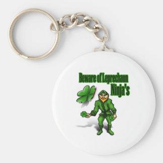 St. Patrick's Day, leprechaun ninja Basic Round Button Key Ring
