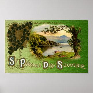 St Patrick's Day Souvenir Vintage Landscape Poster