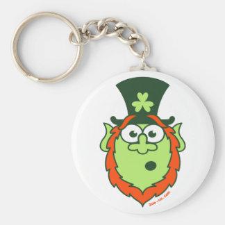 St Patrick's Day Surprised Leprechaun Basic Round Button Key Ring