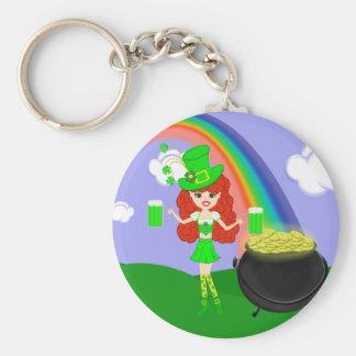 St Pat's Day Redhead Girl Leprechaun with Rainbow Basic Round Button Key Ring